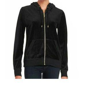 Michael Kors Hooded Black Velour Hoodie Jacket